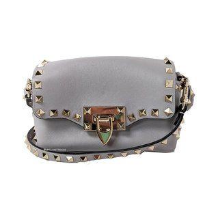 Valentino Rockstud Mini Gray Leather Crossbody